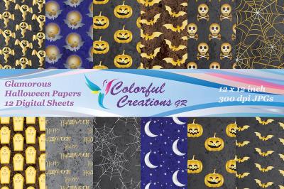 Halloween Digital Papers, Pumpkin Pattern, Skulls, Bats, Gravestones,