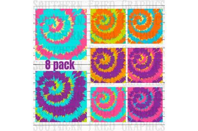 Bright Tie Dye Pattern Digital Graphic Bundle