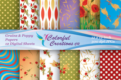 Grains and Poppy Digital Papers, Grains  Papers, Poppy  Papers, Curly