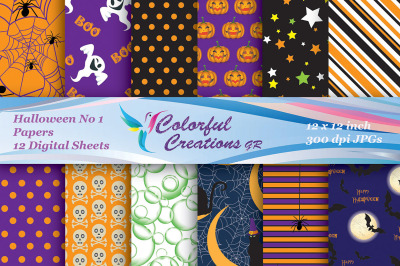 Halloween Digital Papers, Pumpkins, Skulls, Bats, Spider web Pattern,