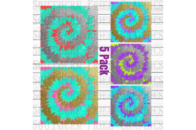 Glitter Tie Dye Pattern Digital Graphic Bundle