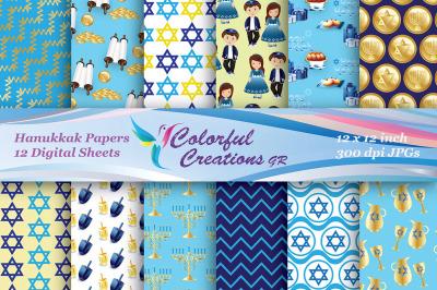 Hanukkah Digital Papers, Jewish Digital Images, Hanukkah Scrapbook Pap