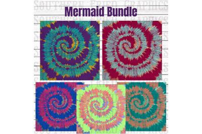 Mermaid Tie Dye Pattern Digital Graphic Bundle