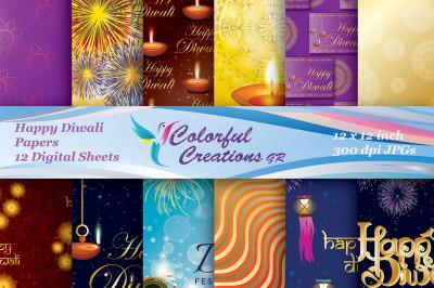 Happy Diwali Digital Papers, Diwali Digital Papers, Indian Celebration