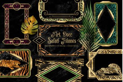 Art Deco Safari Frames Clipart