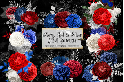 Navy, Red and Silver Floral Bouquets