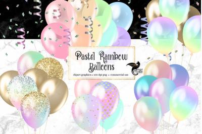 Pastel Rainbow Balloons Clipart