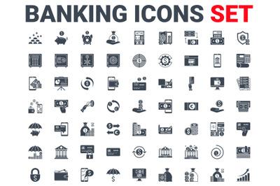 Set Banking Icons Glyph