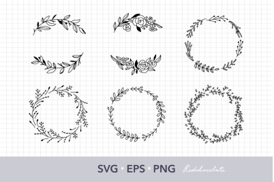 Floral wreath SVG clipart set. Hand drawn wreath clipart collection