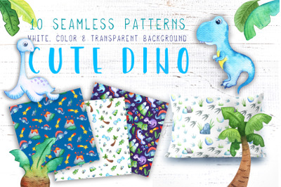 Watercolor Dinosaur Seamless Pattern Collection