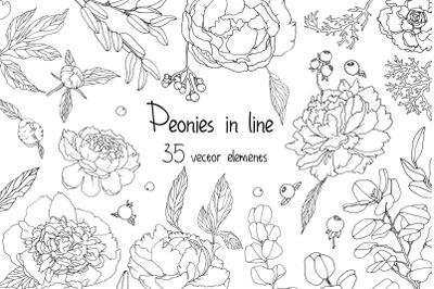 Peones in line vector
