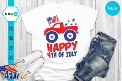 Happy 4th Of July Svg, Usa Truck Svg