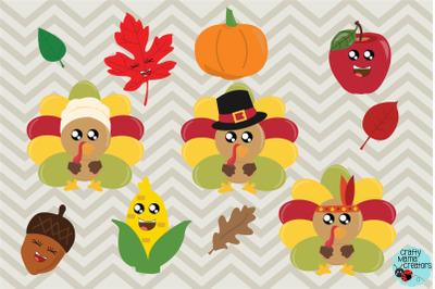 Thanksgiving Bundle SVG, Turkey, Pilgrim Fall Autumn Clipart