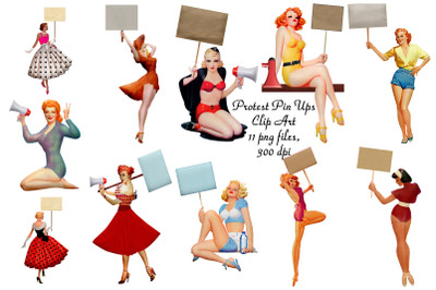 Protest Pin Up Girls Clip Art