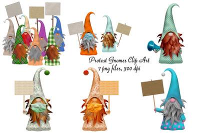 Protesting Gnomes Clip Art
