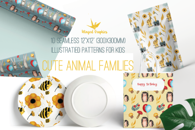 10 seamless patterns/ printable digital paper with cute animal familie