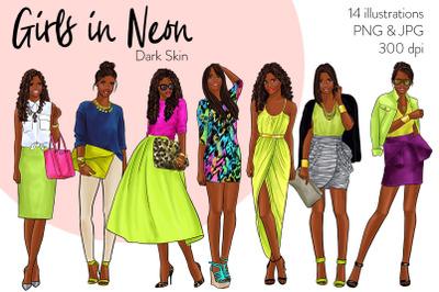 Watercolor Fashion Clipart - Girls in Neon - Dark Skin
