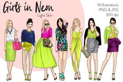 Watercolor Fashion Clipart - Girls in Neon - Light Skin