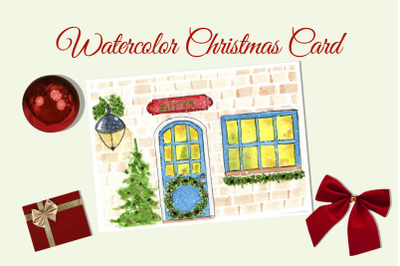 Watercolor Christmas Card. Gift shop