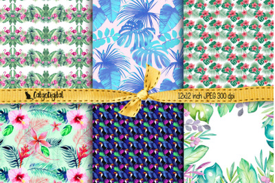 Tropical Background Printable Papers Digital Scrapbooking
