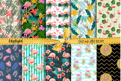 Flamingos Printable Papers Digital Background Papers