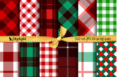 Christmas Buffalo Plaid Printable Papers
