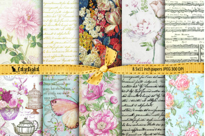 Romantic Digital Papers Background Papers Scrapbooking