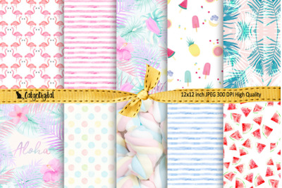 Pastel Summer Digital Papers Background Papers Scrapbooking