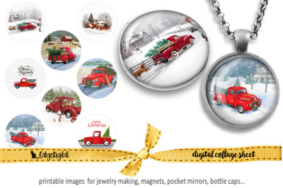 Christmas Red Truck Printable images for Jewelry Making