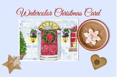 Watercolor Christmas Card. Christmas Eve