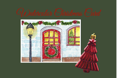 Watercolor Christmas Card. Cozy home