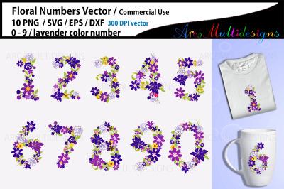 Lavender Floral Numbers SVG