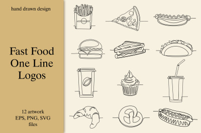 Fast Food One Line Logos