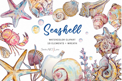 Watercolor Clipart Seashell Collection