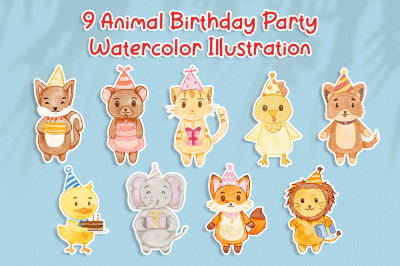 Set of Cute Animal Birthday Watercolor