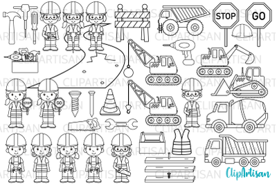 Construction Clip Art, Digital Stamps
