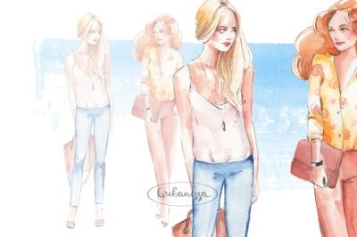 Fashion girls. Watercolor