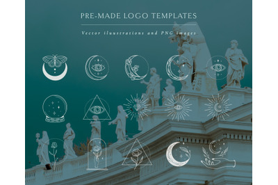 White Logo Elements Vector illustrations. Social Media, Logo Creator.