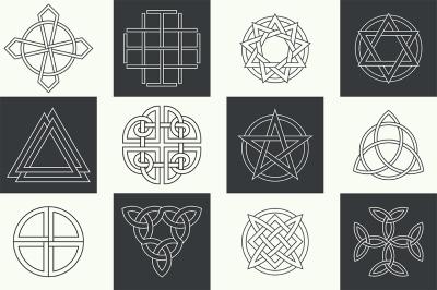 Set of Ancient linear logo symbols