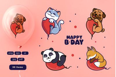 Set of animals with balloon