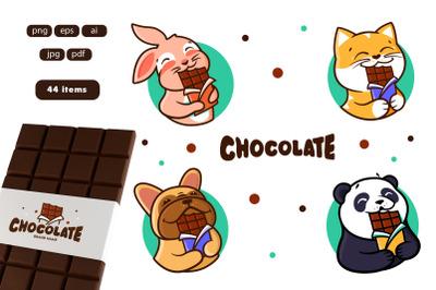 Set of animals eats chocolate