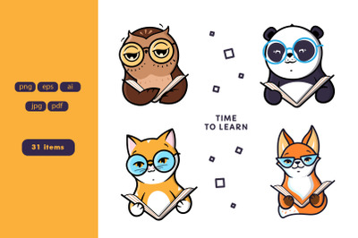 Set of logo Animals reads Book