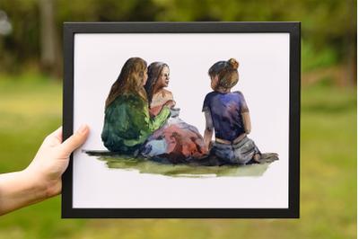 Girl's Picnic - Watercolor Print and Clip Art