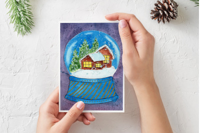 Watercolor Christmas Card. Snow Globe with houses