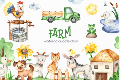 Farm Watercolor Clipart. Cards, frames, seamless patterns