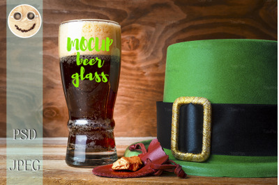 St.Patrick green hat, beer glass and gold.