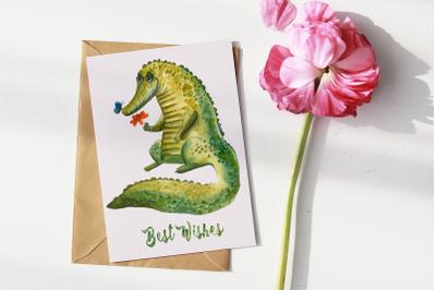 Cute Crocodile - Watercolor Print and Clip Art