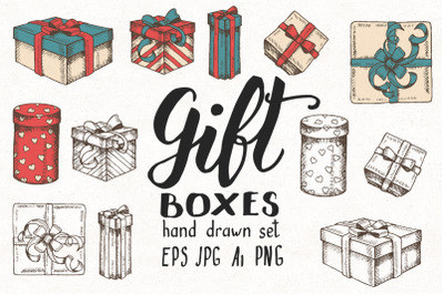 Hand drawn Gift boxes Set
