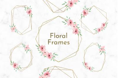 Geometric Frames Watercolor flowers