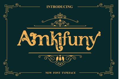Amkifuny New Brush Serif Display Font Typeface